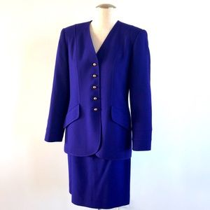 Vintage size 6 Albert Nipon purple suit skirt set